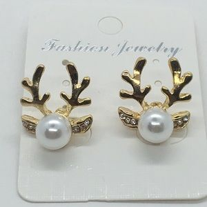 Jewelry - Pearl and Gold Deer Earrings